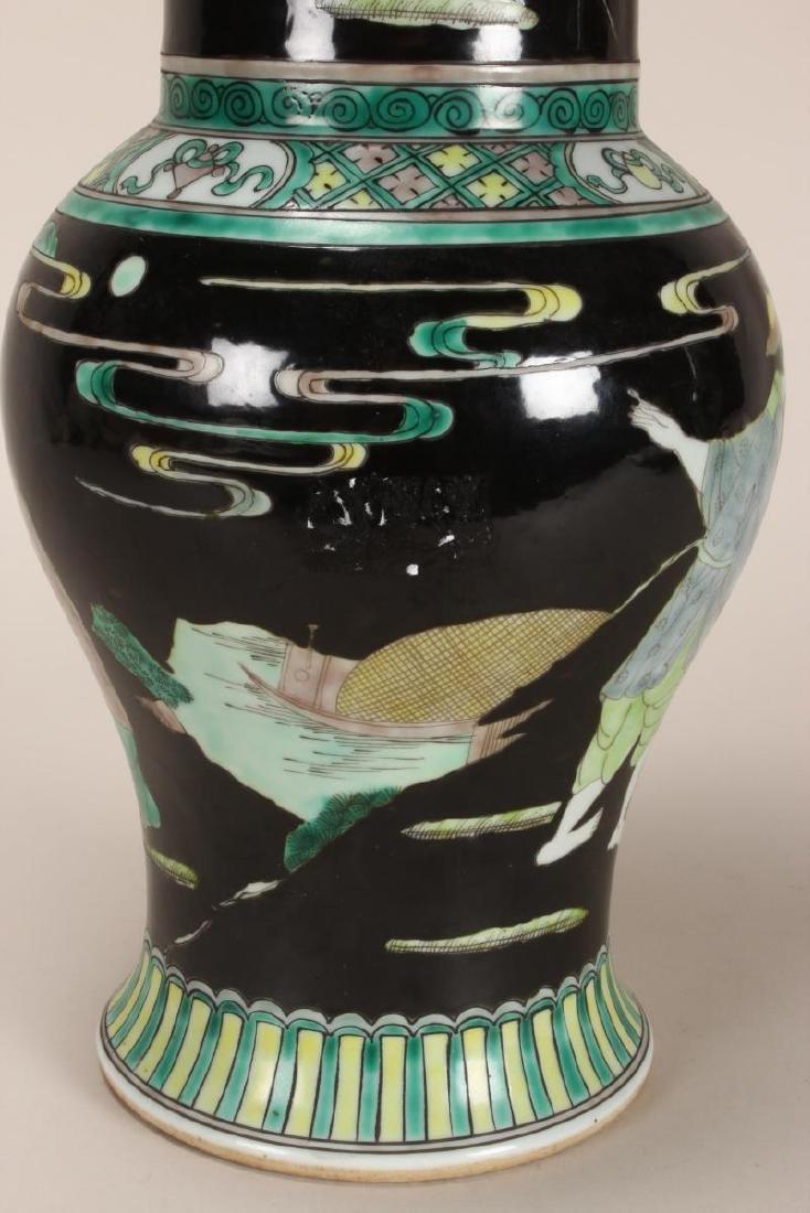 Pair of Chinese Famille Noir Porcelain Vases, - 9