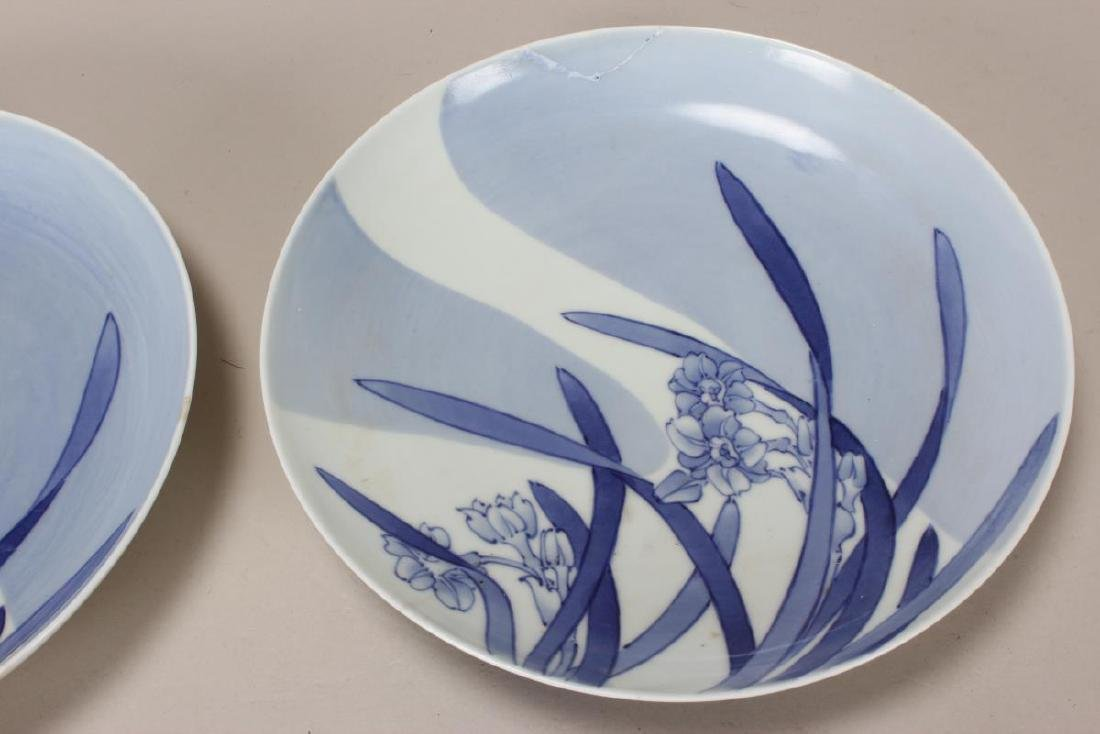 Pair of Japanese Blue and White Porcelain Plates, - 2