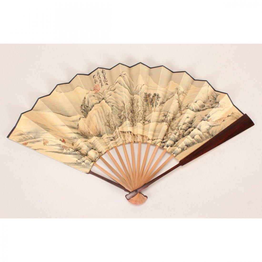 Chinese Watercolour Folding Fan,
