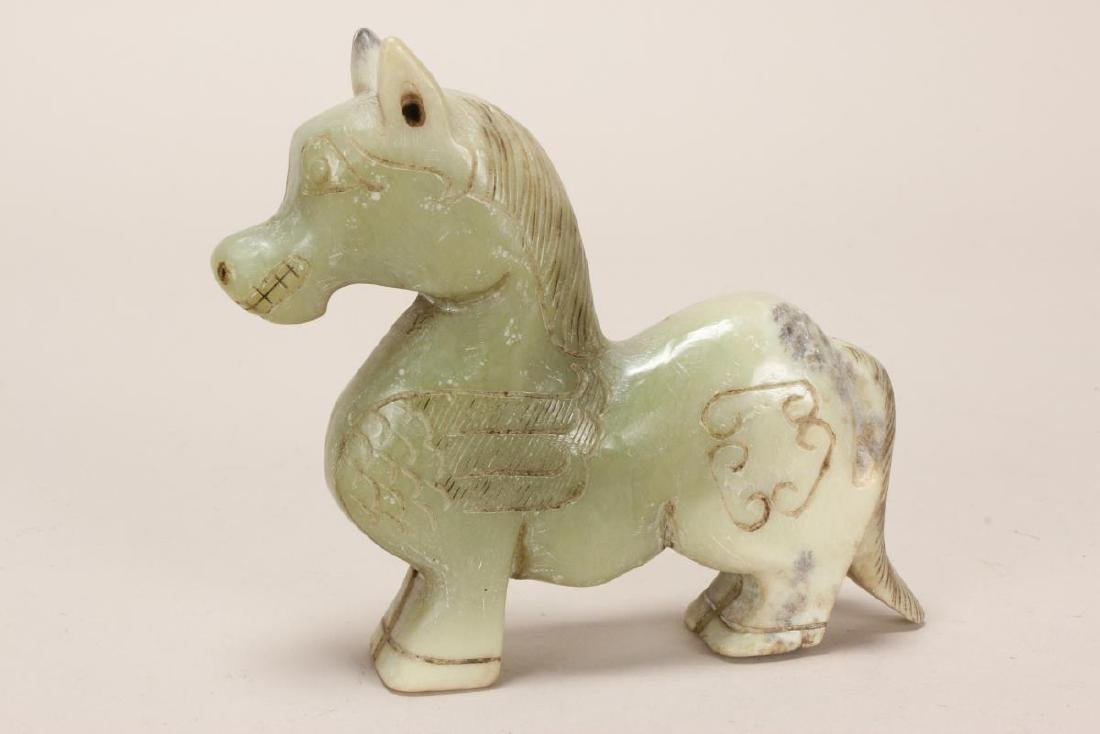 Chinese Carved Hardstone Horse, - 2