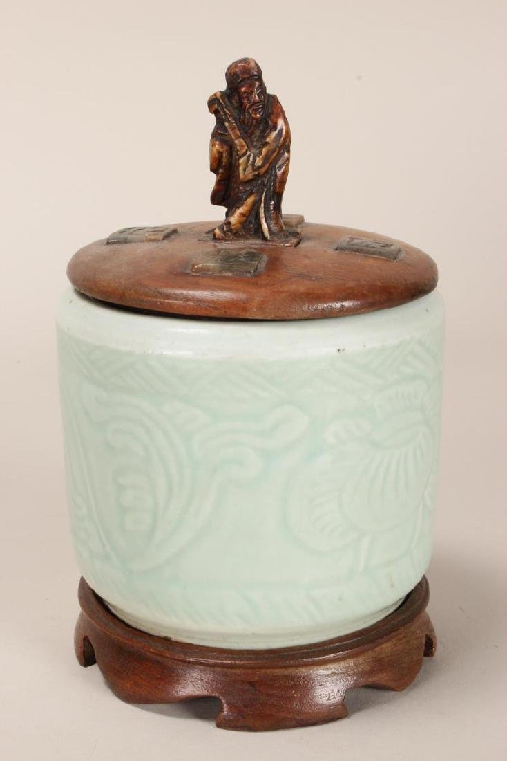 Chinese Celadon Jar and Cover,