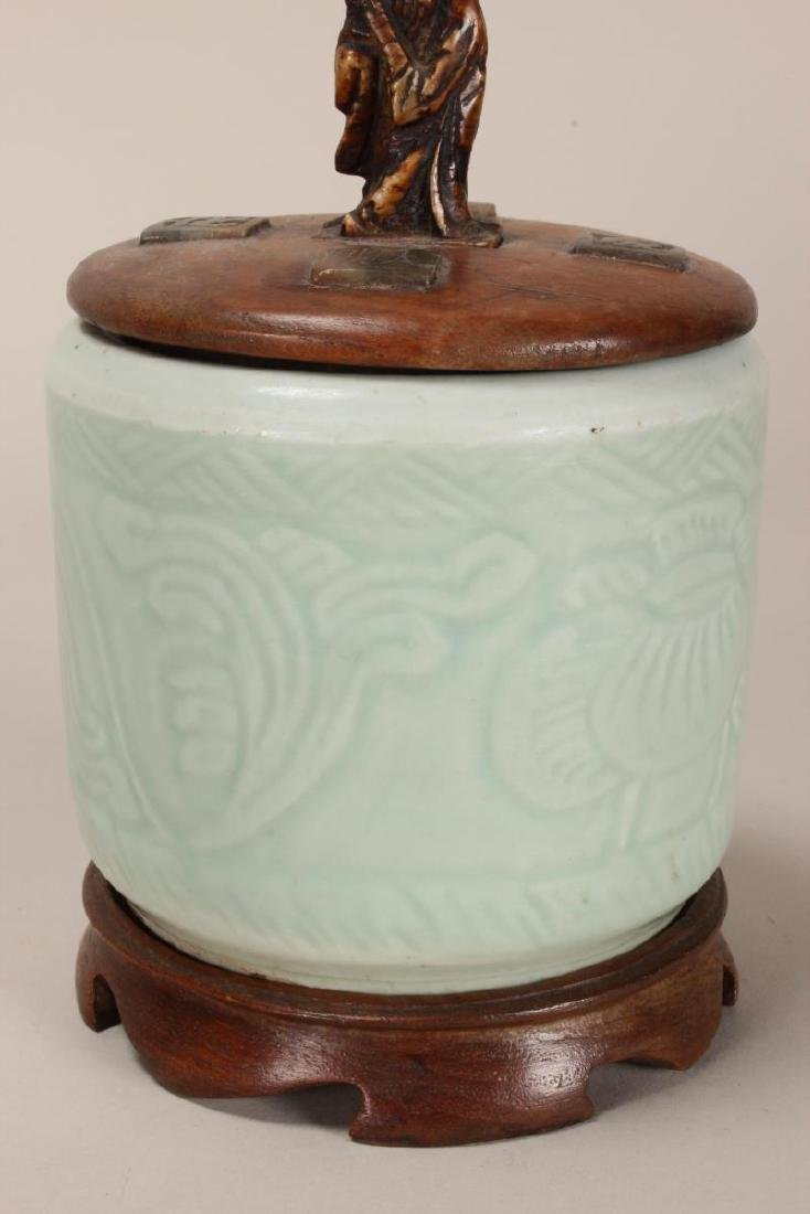 Chinese Celadon Jar and Cover, - 2