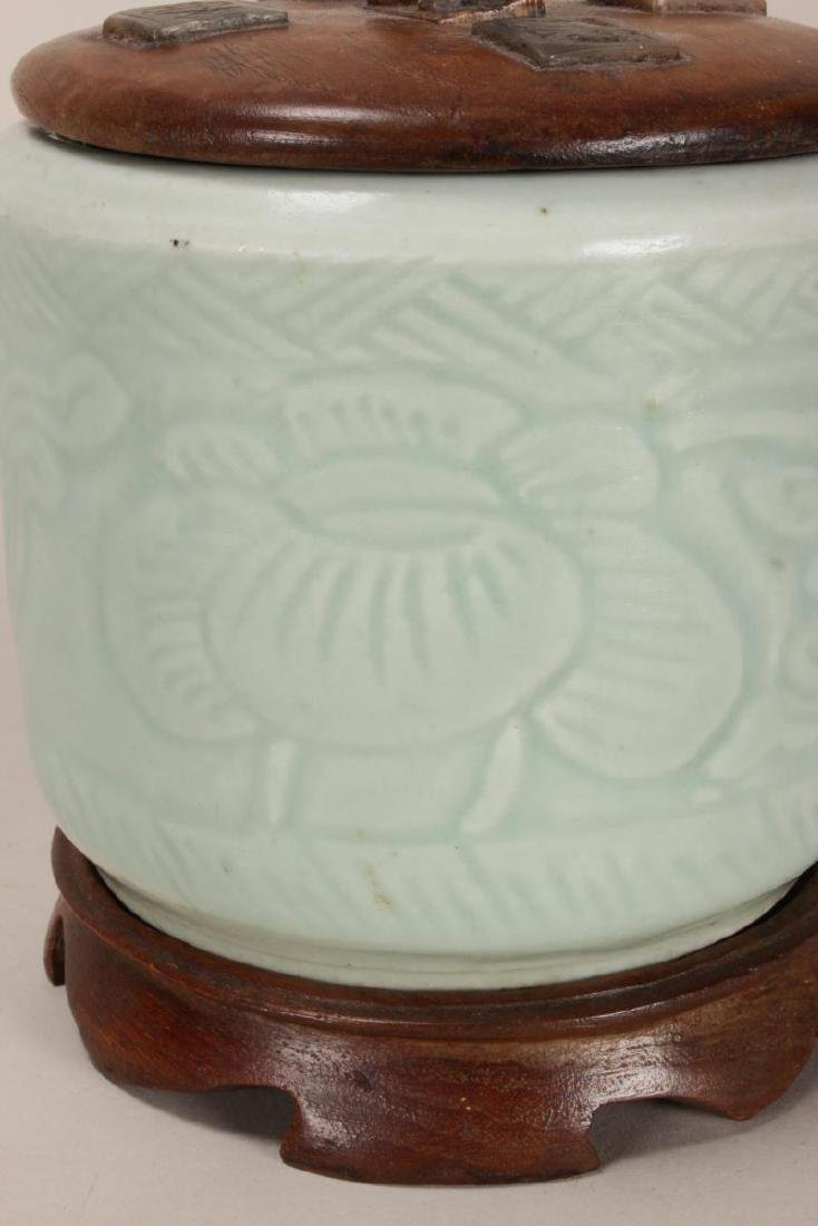 Chinese Celadon Jar and Cover, - 4