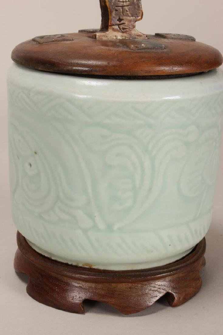 Chinese Celadon Jar and Cover, - 5