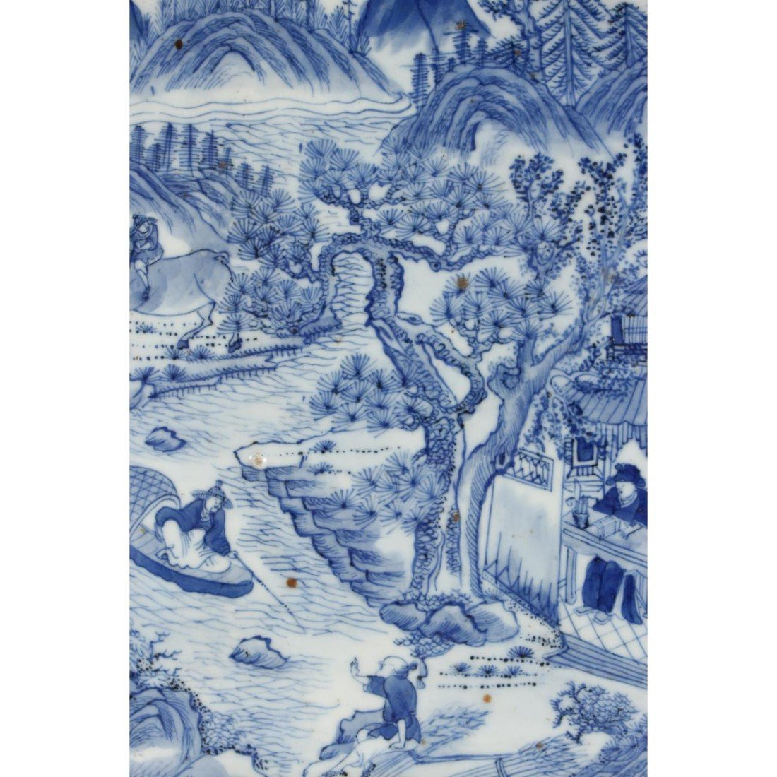 Chinese Blue and White Porcelain Tile, - 2