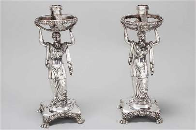 Pair of George IV Sterling Silver Figural Candle