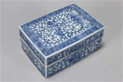 Chinese Qing Dynasty Blue and White Porcelain Box