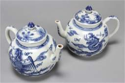 Pair of Chinese Blue and White Porcelain Teapots