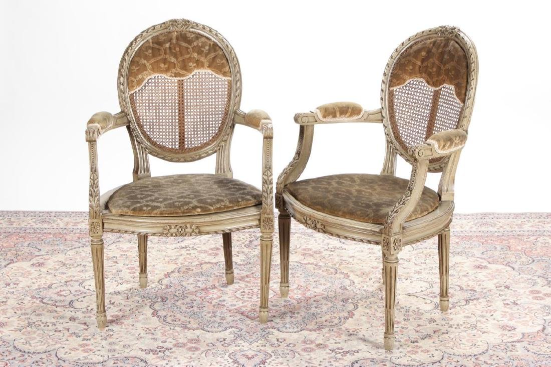 Pair of French Louis XVI Style Fauteuils,