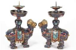 Good Pair of Chinese Cloisonn� Candlesticks,