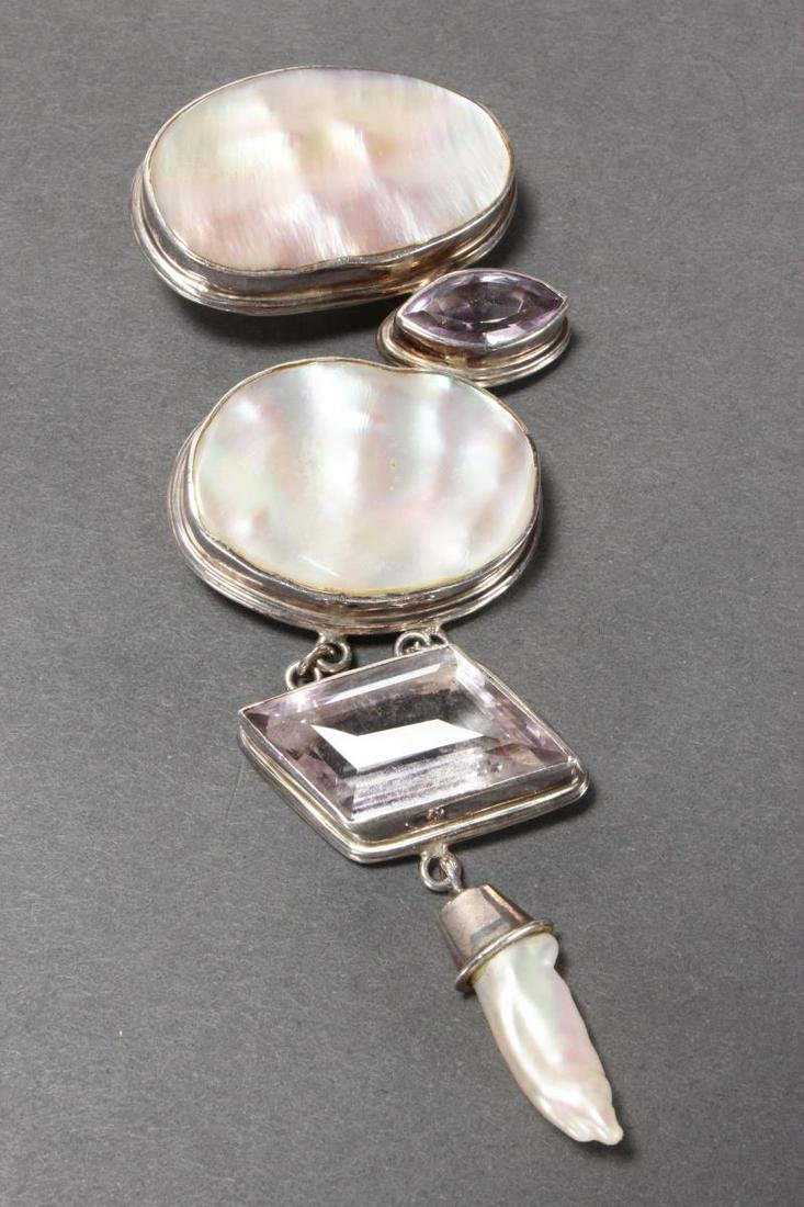 Large Sterling Silver and Mother of Pearl Pendant,