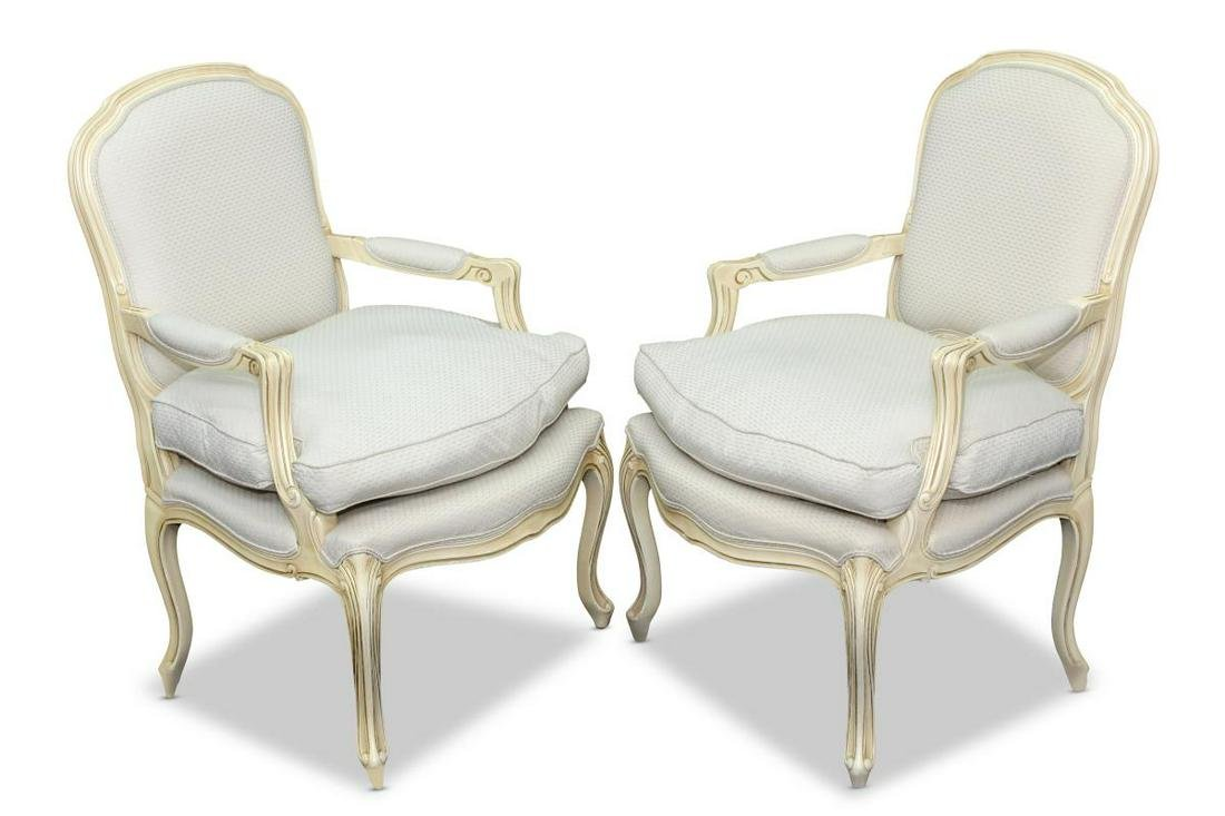 Pair of French Louis XV Style Fauteuils,