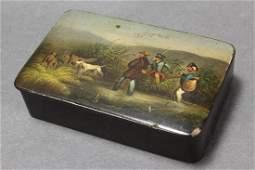 Georgian Hand Painted Papier Mache Snuff Box and