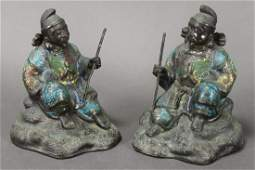 Good Pair of Early Qing Dynasty Cloisonne Figures,