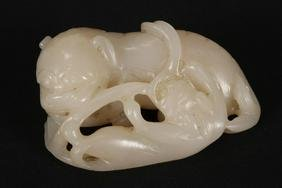 Chinese Qing Dynasty White Jade Figure Group,