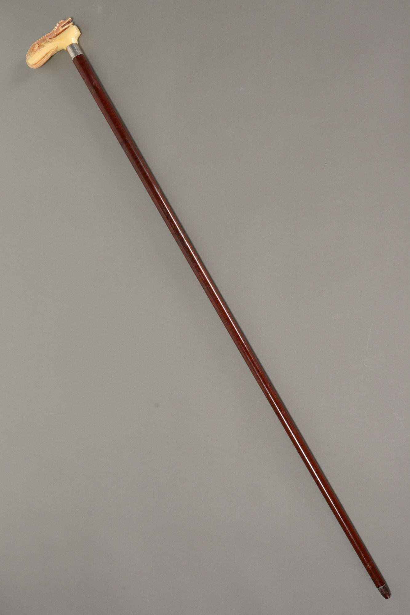 19th Century Sterling Silver and Bone Walking Cane