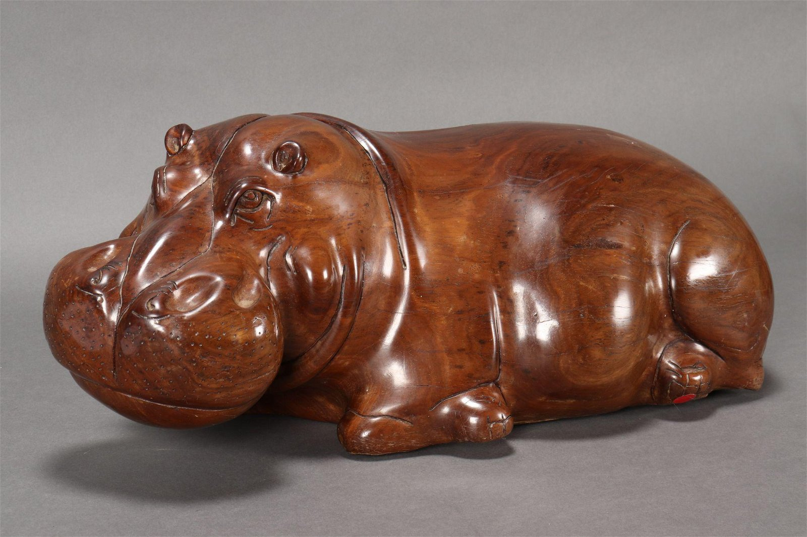 Delightful African Carved Wooden Hippo,