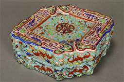 Chinese Enamel on Porcelain Box and Cover