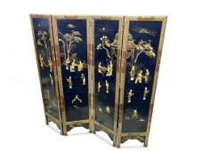 Chinese 20th Century Four Panel Folding Screen,
