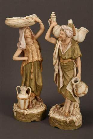 Pair of Royal Dux Porcelain Figures,
