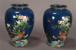 Beautiful Pair of Japanese Cloisonn? Enamel Vases,
