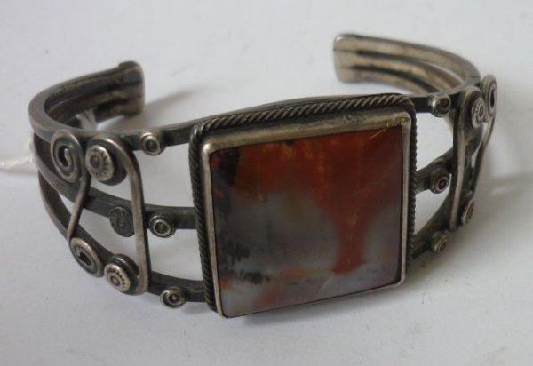 10: Agate & Silver Cuff Bracelet pre 1970