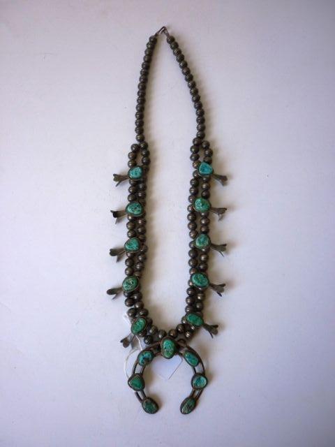 """13: Pre 1960 Navajo Totem """"Squash Blossom"""" Necklace"""