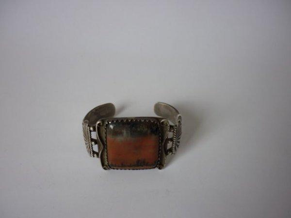 14: Pre 1960's Silver and Agate Cuff,