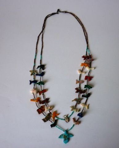 15: Pre 1960s Hardstone Fetish Twin Strand Necklace