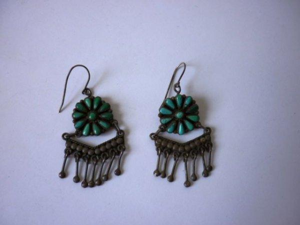 17: Navajo Silver & Turquoise Drop Earrings, c1930