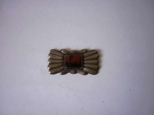 18: Navajo Silver & Agate Plaque