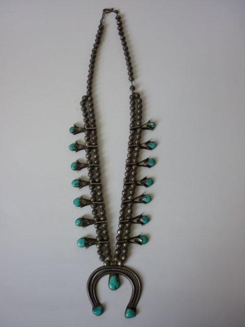 """19: Pre 1960 Navajo Totem """"Squash Blossom"""" Necklace"""