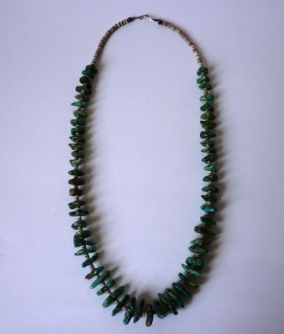 20: Mine Cut Turquoise & Banded Agate Necklace c.1960