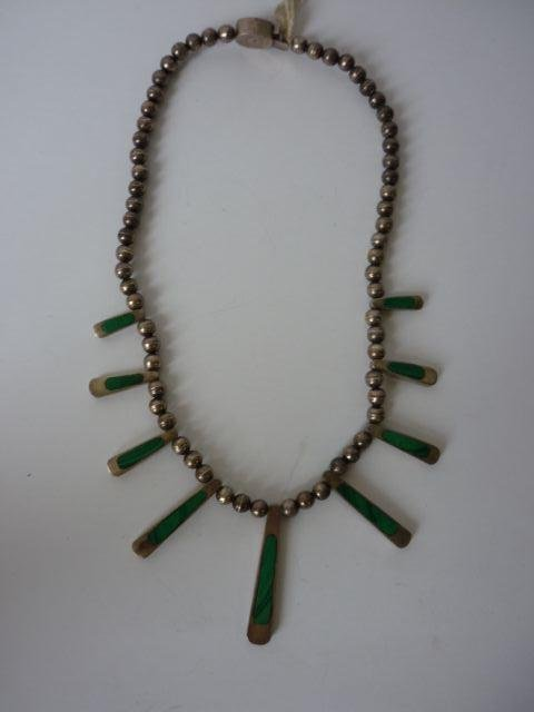 22: Mexican Silver Beaded Malachite Necklace, c.1950