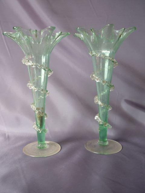 Pair of Late Victorian Floriform Vases,