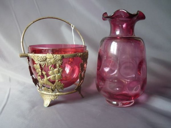 Late Victorian Ruby Glass Vase, together with a