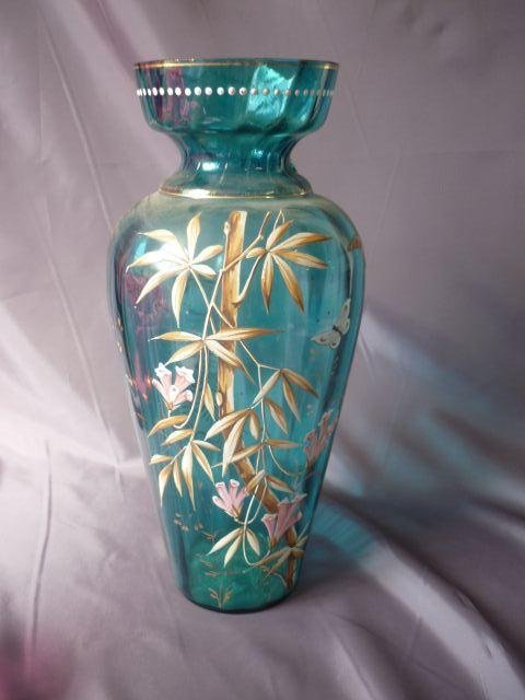 Late Victorian Blue and Enamel Glass Vase,
