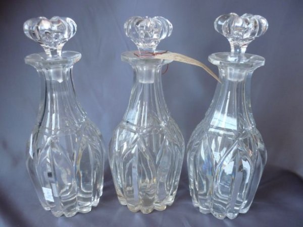 Set of Three 19th Century Crystal Decanters and