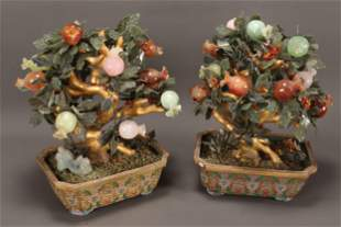 Stunning and Large Pair of Chinese Jade, Agate,