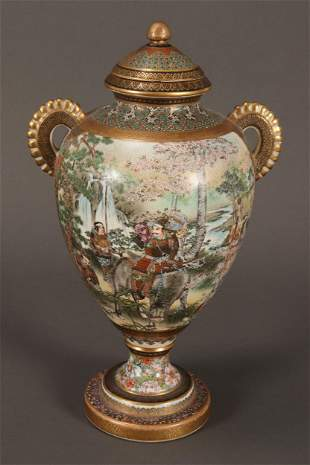 Stunning Satsuma Twin Handled Vase,