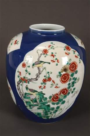 Large Chinese Qing Dynasty Porcelain Jar,