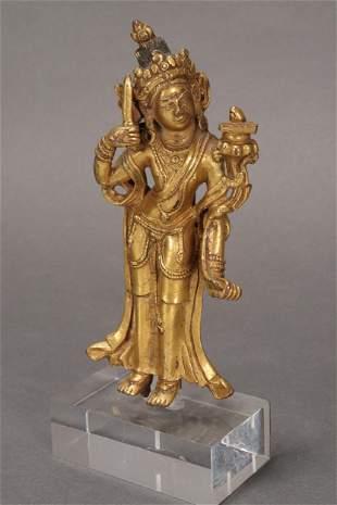 18th Century Sino-Tibetan Gilt Bronze Standing