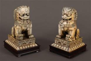 Pair of Chinese Late Qing Dynasty Fo Dogs,