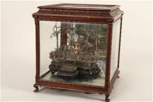 Chinese Cased Miniature Silver Garden,