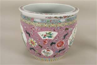 Large Chinese Famille Rose Porcelain Jardiniere,
