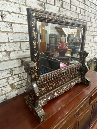 Large Chinese Inlaid Table Mirror,