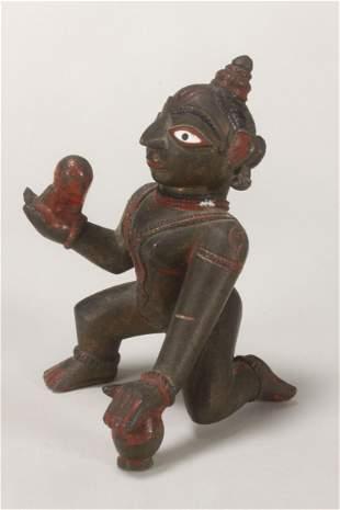 Indian Bronze Figure of Baby Krishna,