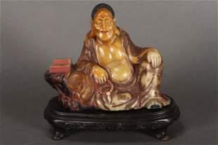 Large Chinese Soapstone Figure of Luohan,