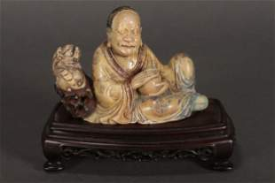 Chinese Carved Soapstone Figure Group,