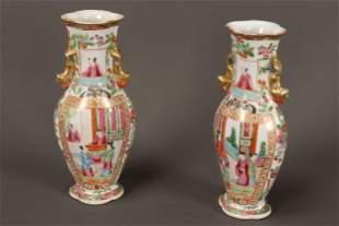 Pair of 19th Century Cantonese Porcelain Vases,